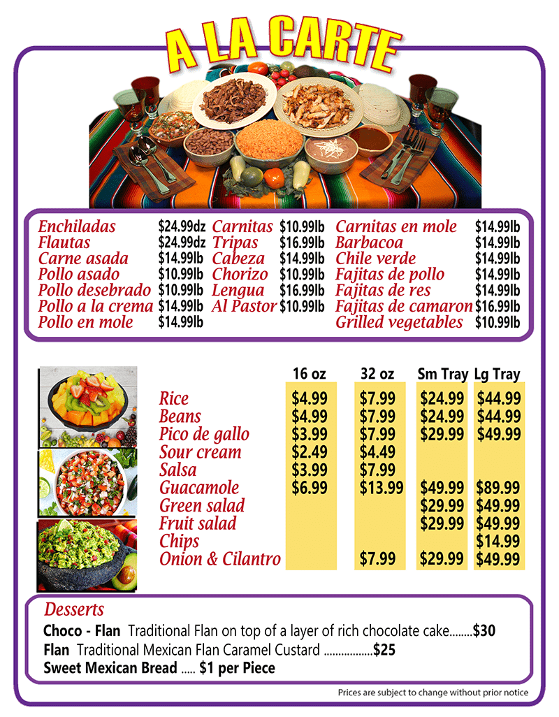 Mexican Catering Party Tray Menu | Authentic Mexican Food | Arteaga's Food Center