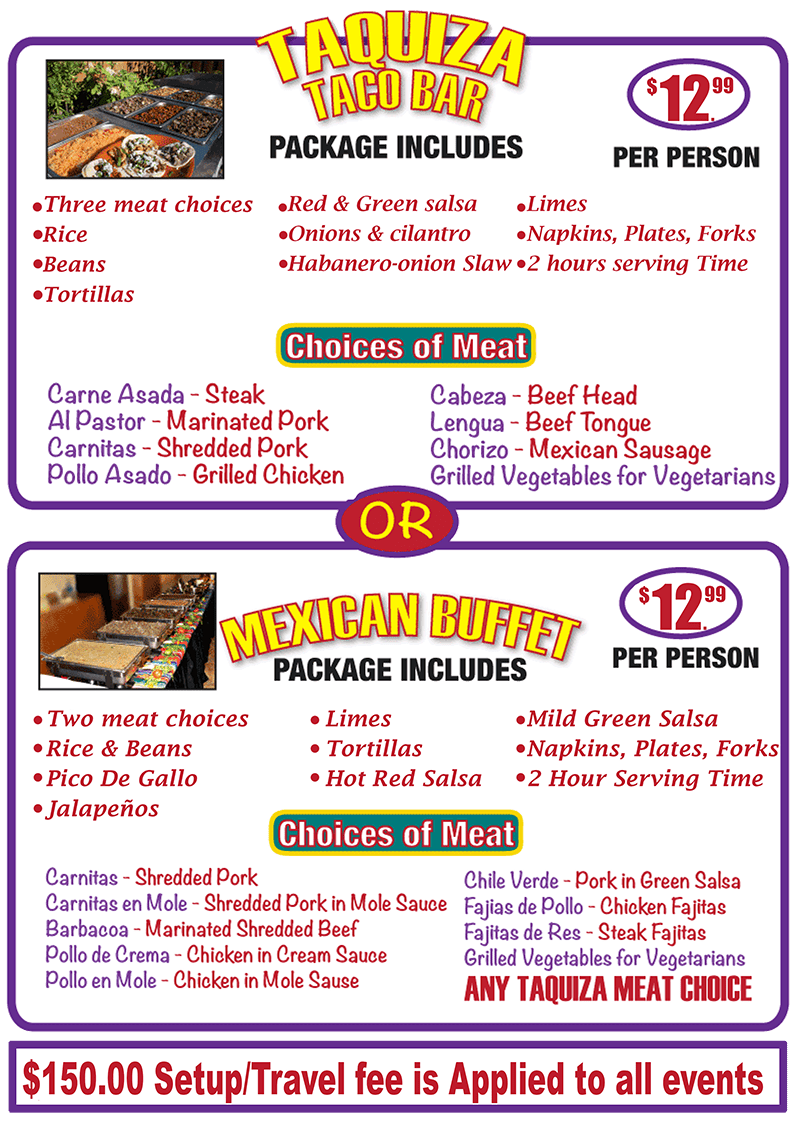 Mexican Catering Taquiza Menu | Authentic Mexican Food | Arteaga's Food Center
